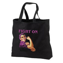 Fight On New Black Cotton Tote Bag Awareness Events Gifts Shop Books - $17.99
