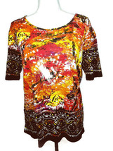 Koret Womens Top Size Medium Multi Color Bright Casual - $7.85
