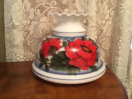 Quoizel Shade Milk Glass Parlor Lamp Hand Painted w/Red Flowers Ruffled Top - $59.98
