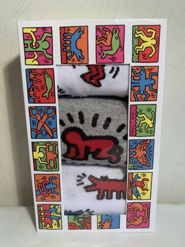 Primary image for Keith Haring Socks 3 Pack Crew Sock Size 10-13 Style# KH960898