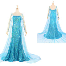 Frozen Snow Queen Elsa Blue Fancy Dress Suit Movie Cosplay Costume - $115.99