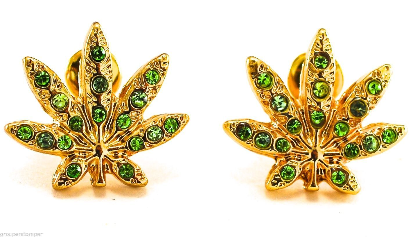 Primary image for Weed Earrings New Green Marijuana Leaf Iced Out Kush Cannabis Post Bullet Style