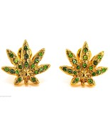 Weed Earrings New Green Marijuana Leaf Iced Out Kush Cannabis Post Bulle... - $11.90