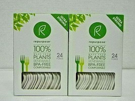 2 Boxes 24 Ct Repurpose 100% Compostable Plant Based  BPA Free Forks (48... - $10.39