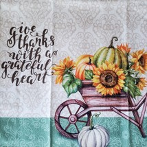 Kitchen Linens Set, 6pc, Give Thanks with a Grateful Heart, Sunflowers Pumpkins image 3