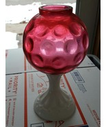 Fenton Cranberry And Milk Glass Coin Dot Optic Ivy Ball Vase - $18.00