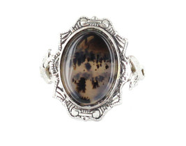 Antique Picture Moss Agate 1920's Ornate Ring Rhodium Finish Pretty Ring... - $56.69