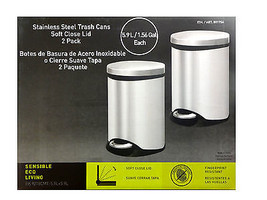 Sensible Eco Living Stainless Steel Garbage Cans Trash Cans 2Pk 1.56 Gal  - $32.71