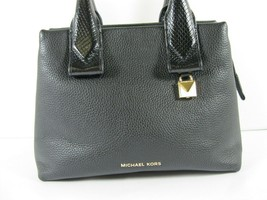 Michael Kors NEW $328 Black Leather Crossbody Messenger Hand Bag Pebbled Gold X image 2