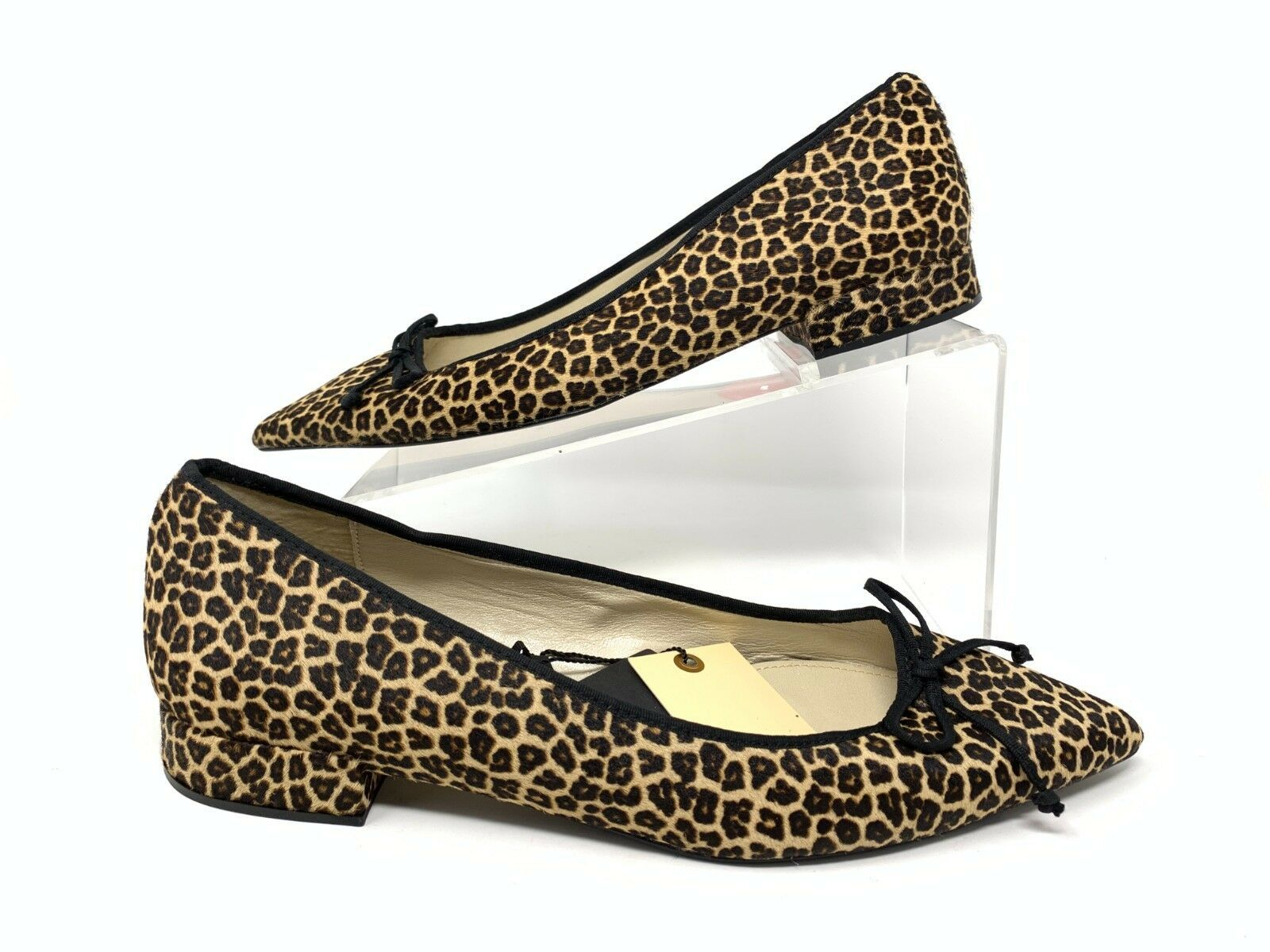 Zara Womens Leather Ballerinas Ballet Flats Leopard EU 41 US 10 Leather 1524/301 - $79.19