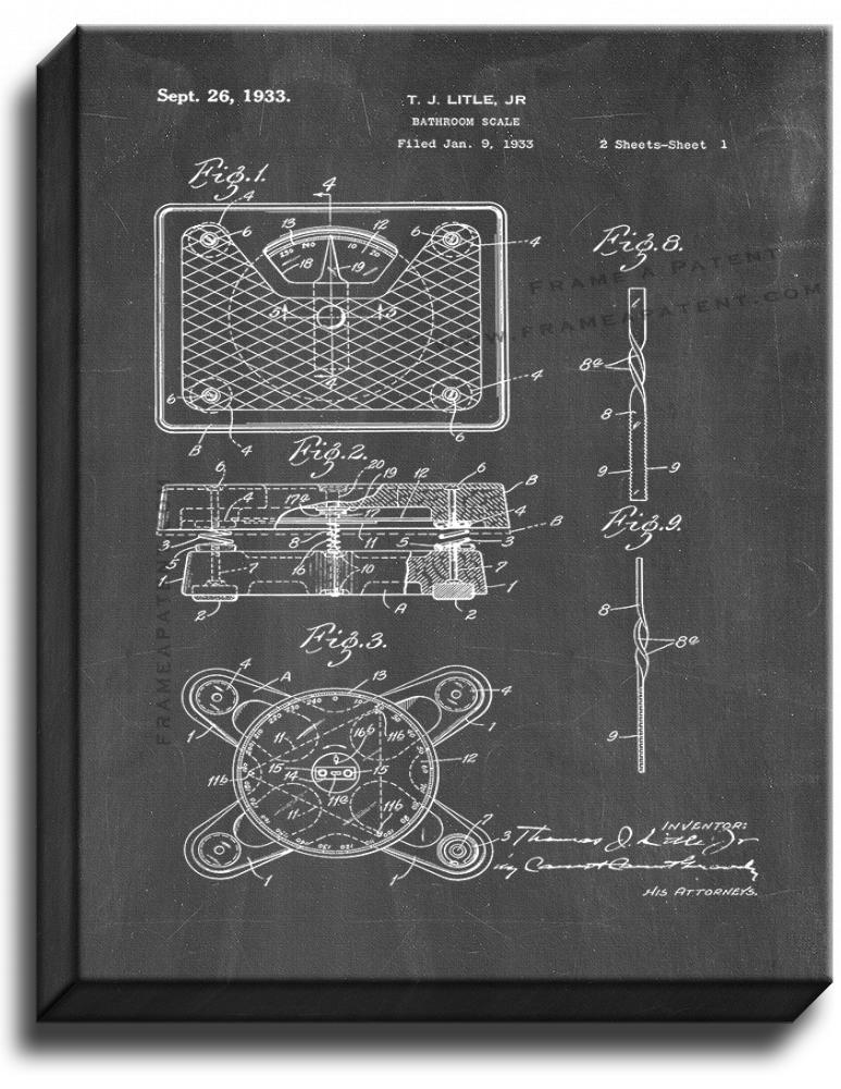 Primary image for Bathroom Scale Patent Print Chalkboard on Canvas
