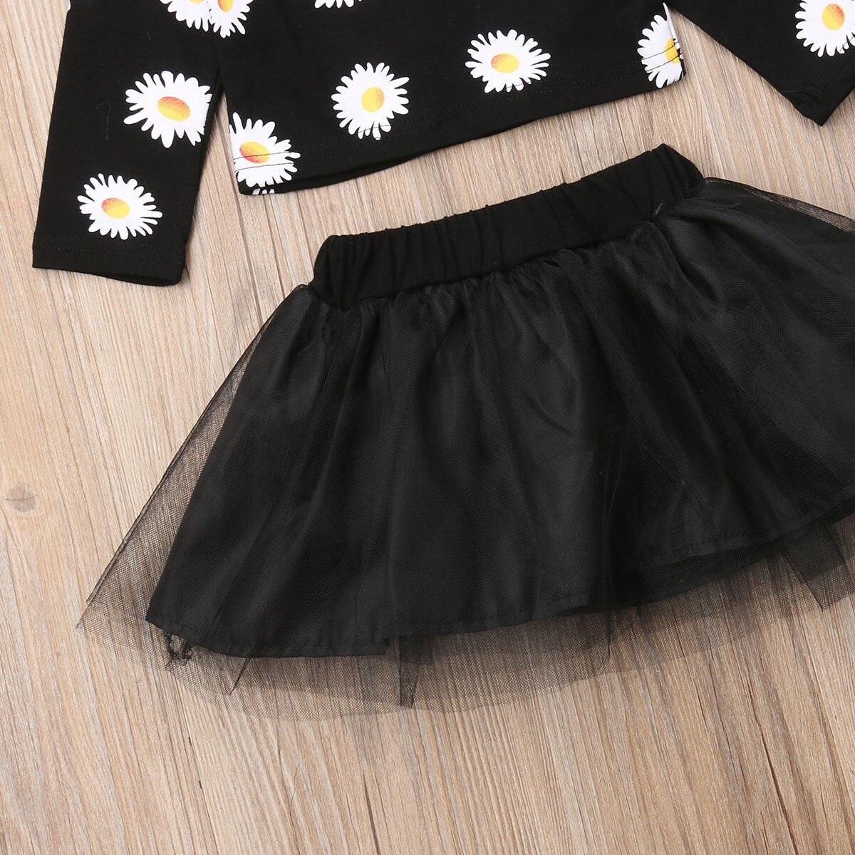Fashion Newborn Baby Girls Flower Long Sleeve Tops Tulle Skirt Outfits Clothes-i image 4