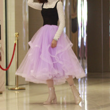 Layered Tulle Skirt Princess Outfit Plus Size Wedding Outfit Purple Tiered Skirt image 1