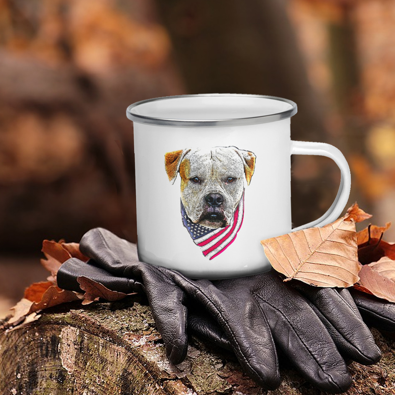 Primary image for American Bulldog Camping Enamel Coffee Mug