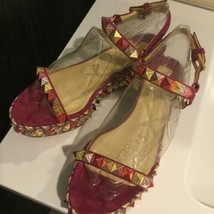 Christian Louboutin Authentic Wedge sole Studs Sandals Size 37 New from Japan - $965.99