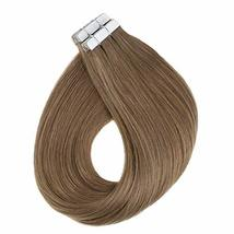 RUNATURE 14inches Tape Real Hair Extensions Color 6 Chestnut Brown 40gram 20Piec image 3