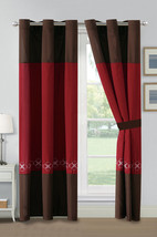 4-Pc Alby Leaves Floral Circles Embroidery Curtain Set Burgundy Brown Gr... - $40.89