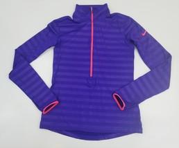 Nike pro dri fit long sleeves athletic pirple sz medium 1/2 zip - $99.99