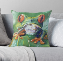"Frog 15.5""x15.5"" Oil Painting Pillow Signed Art Decor Green Filled two s... - $46.04"