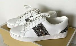 Neu Michael Kors Catelyn Streifen Schnürer Nappa Sneakers Eu 6 Weiß/Perl... - $102.91