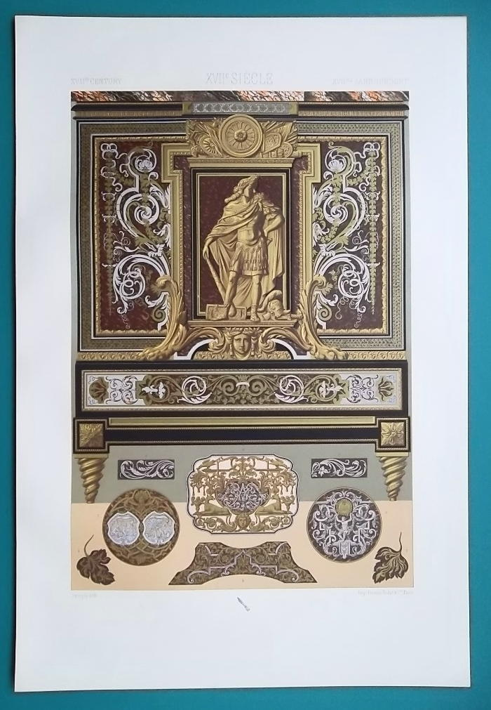 BAROQUE FURNITURE in Louvre Apollo Gallery - A. RACINET Color Lithograph Print