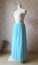 Adult Long Tutu Skirts Elastic Waist Floor Length Tulle Layered Maxi Skirt Blue image 3
