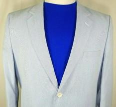 Alan Flusser Sport Coat Size Large Two Button Blue White Seersucker 100%... - $59.35