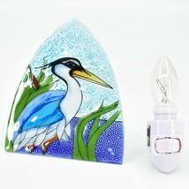 Fused Art Glass Blue Heron Cattail Nightlight Night Light Handmade Ecuador