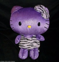 "12"" SANRIO 2011 HELLO KITTY PURPLE GLITTER ZEBRA OUTFIT STUFFED ANIMAL P... - $28.05"