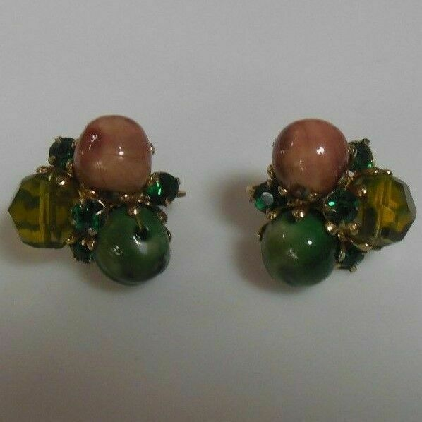 Primary image for Vintage Signed Vogue Glass Bead & Green Rhinestone Clip-on Earrings