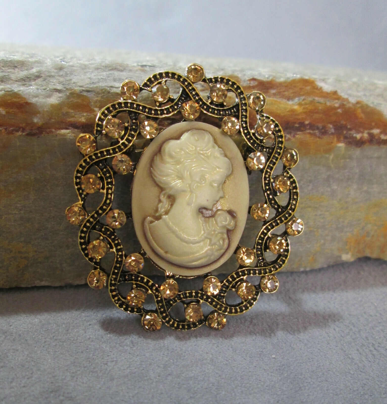 Primary image for Sparkling Cameo Brooch, Victorian Concept with Modern Sparkle, Style No. 01