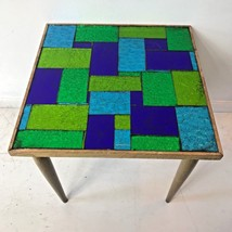Vintage MCM Georges Briard Blue Green Foil Glass Mosaic Accent Side Tabl... - $174.95