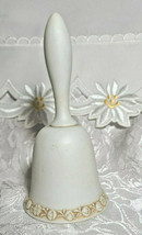 "Vintage LEFTON Egg Shell White Bisque Raised Relief Cherubs Bell  w/ Ringer 5"" image 2"