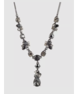 new GIVENCHY black hematite-tone JET CRYSTAL & STONE cluster Y necklace ... - $47.42