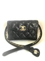 Vintage CHANEL black lamb belt bag, fanny pack with golden chain belt & CC motif - $2,360.00