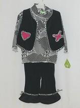 Snopea 3 Piece Outfit Vest Shirt Pants Black White Velour Size 9 Months image 1