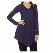 AnyBody Loungewear Brushed Hacci V-Neck Swing Top, Heather Navy, XL - $12.10