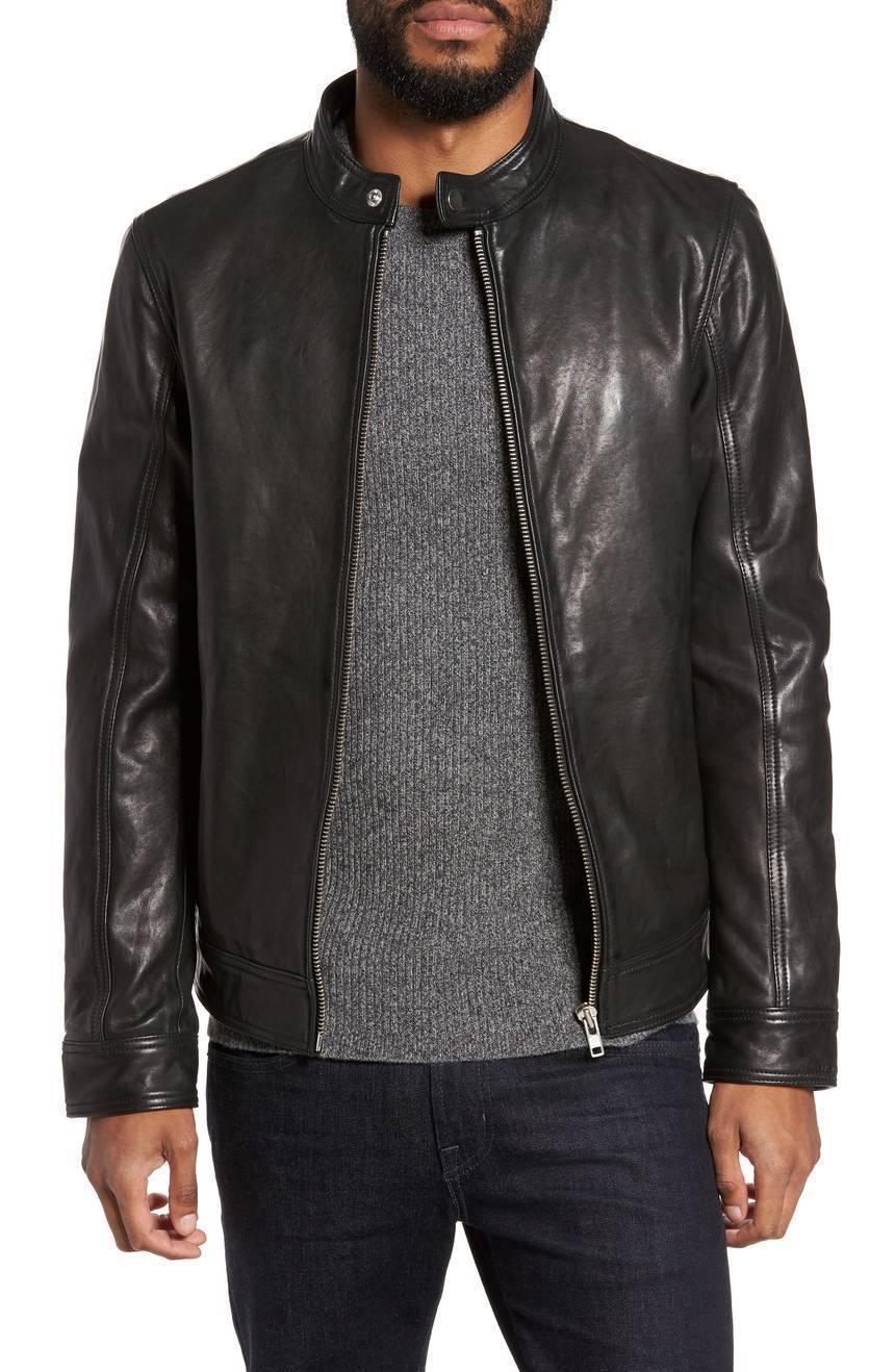 New Front Zip High Neck Men's Genuine Leather Jacket Slim fit Biker jacket