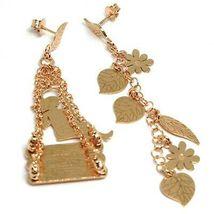Drop Earrings 925 Silver, Leaves, Flowers, Girl on Swing, le Favole image 5