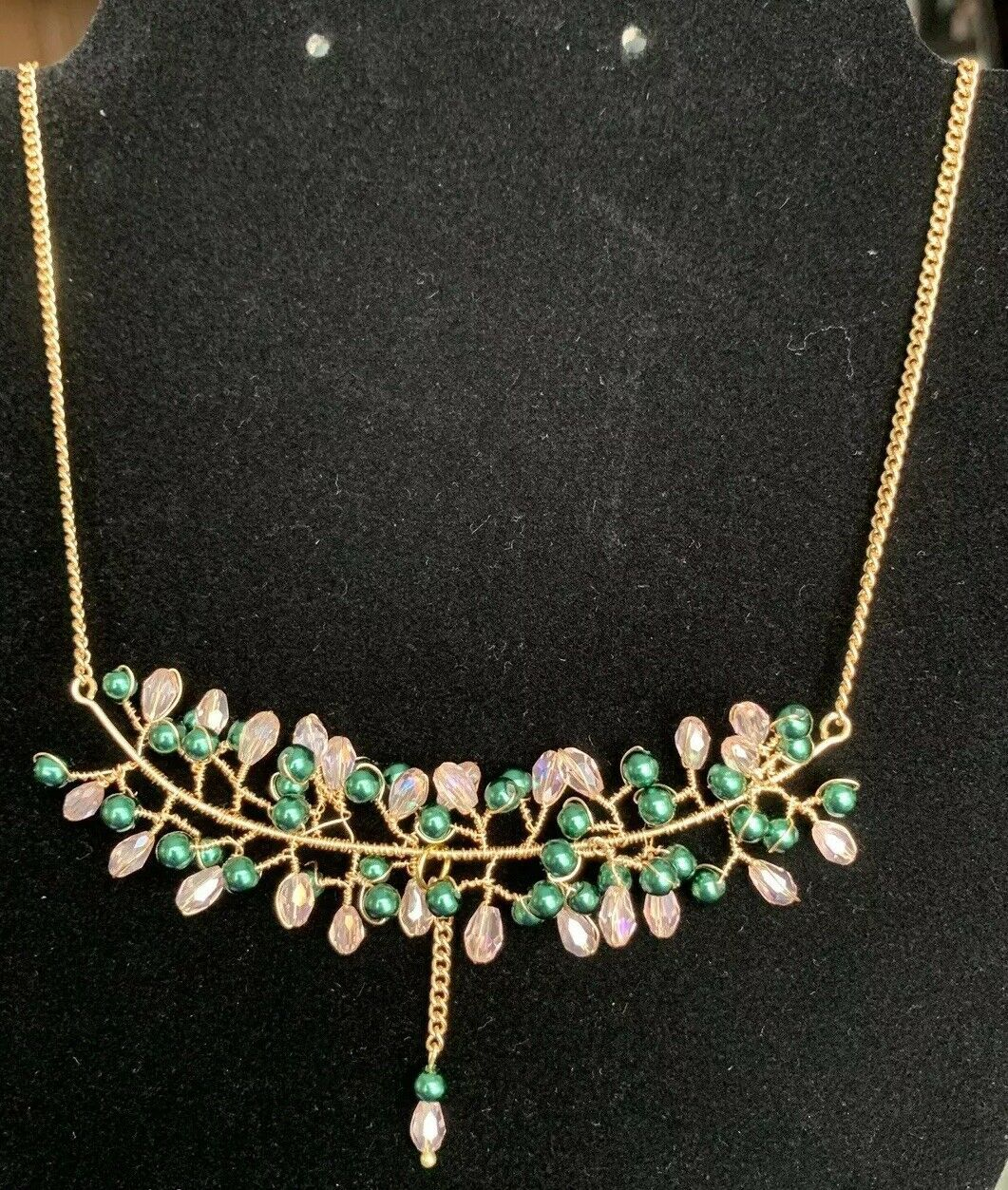 Primary image for Handmade Pink and Green Wire wrapped vine chain necklace, everyday fashion, gift