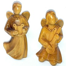 2 Olive Wood Angels Playing Stringed Instruments by Olivart  4 inch and ... - $49.49