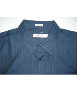 Calvin Klein Shirt L Casual Dress Striped Textured Cotton Blue Classic F... - $24.95