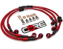 Yamaha R6S Cables Freno 2006 2007 2008 2009 Delantero y Trasero Rojo Trenzado - $146.47