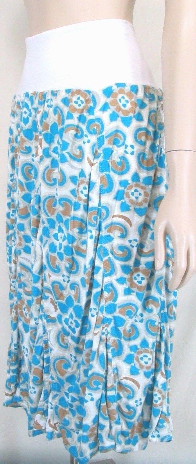 Surrealist skirt NWT M foldover waist ruched bottom white turquoise gold USA new