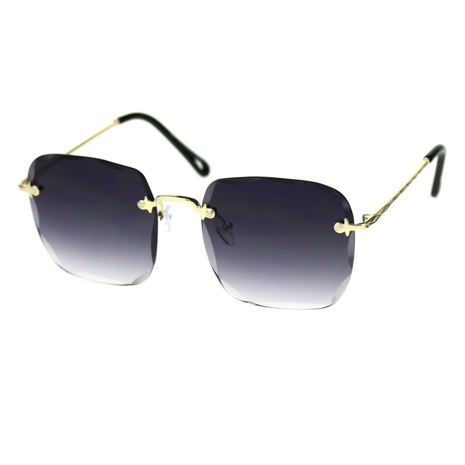 Womens Rimless Square Sunglasses Scallop Beveled Lens Gold Rim UV 400