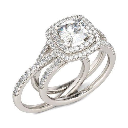 662e4acb47cc 57. 57. Previous. Cushion Cut Diamond Double Halo Bridal Wedding Ring Set  14K White Gold ...