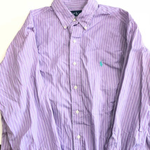 Ralph Lauren Polo mens button down shirt purple white striped M to Large violet - $22.26