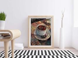 Printable Vintage Style Coffee Cup on Table - Digital Download, Home Dec... - $4.20