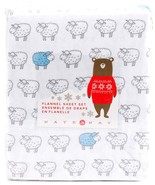 Nate and Nat Counting Sheep Blue Lamb on White Cotton Flannel Sheet Set ... - $67.00