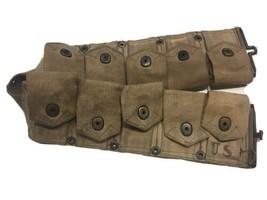 Original 1942 WWII U.S. Army M1 Garand Ammo Belt 10 Pockets Khaki M-1923 Dismoun - $89.72